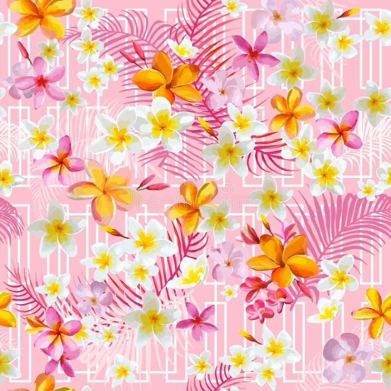 Fond tropical géométrique de fleurs et de feuilles illustration stock