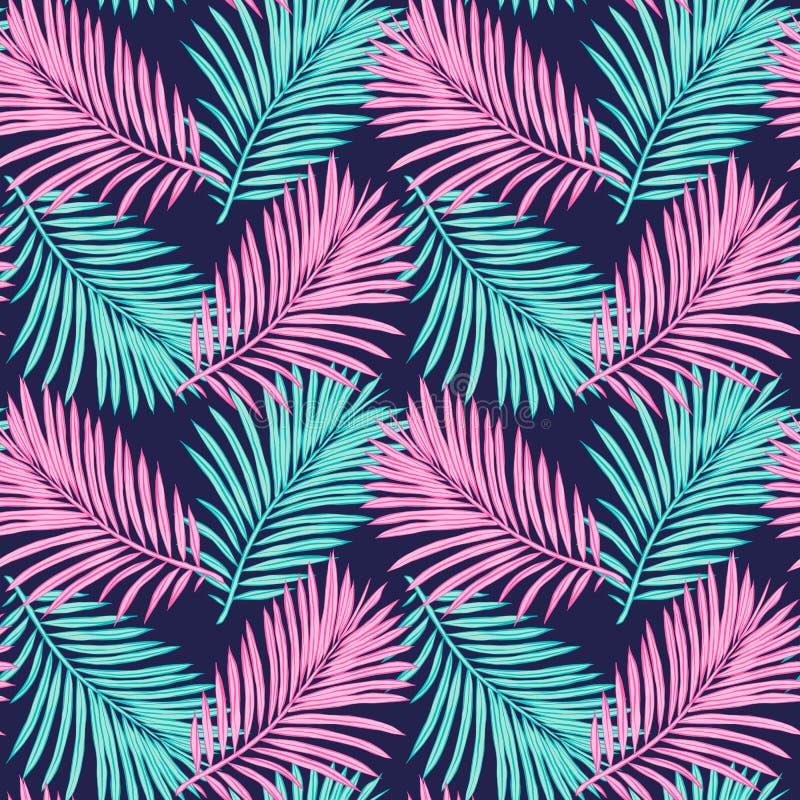 Fond tropical sans joint Illustration tir?e par la main des palmettes Fond pour créer votre conception : emballage, invitations,  illustration libre de droits