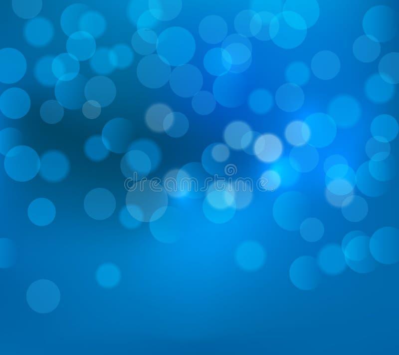 Fond trouble de Noël bleu Illustration bleue de papier peint de carte de vecteur de bokeh d'hiver Le bleu de nouvelle année allum illustration de vecteur