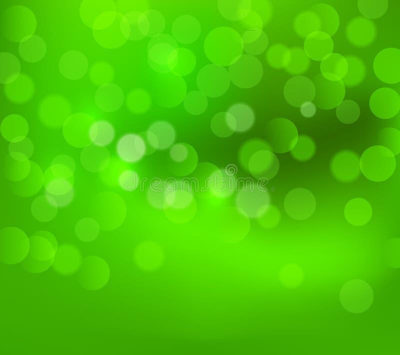 Fond trouble de Noël vert Illustration verte de papier peint de carte de vecteur de bokeh d'hiver Affiche de feux verts de nouvel illustration de vecteur