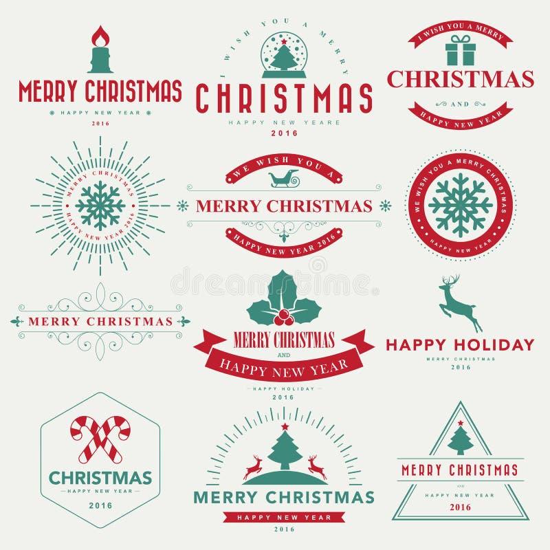 Fond typographique de Joyeux Noël et de bonne année illustration de vecteur