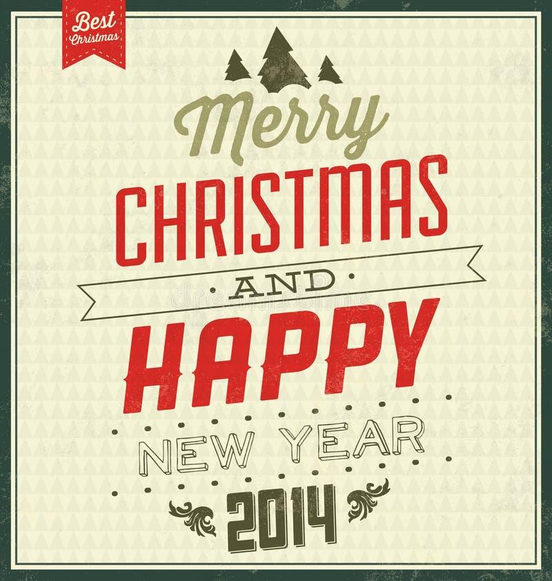 Fond typographique de Noël de vintage - rétro conception illustration libre de droits