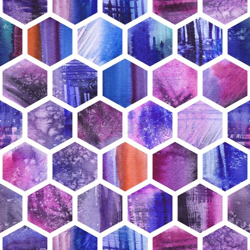 Fond ultra-violet de nid d'abeilles d'aquarelle Configuration sans joint photos stock
