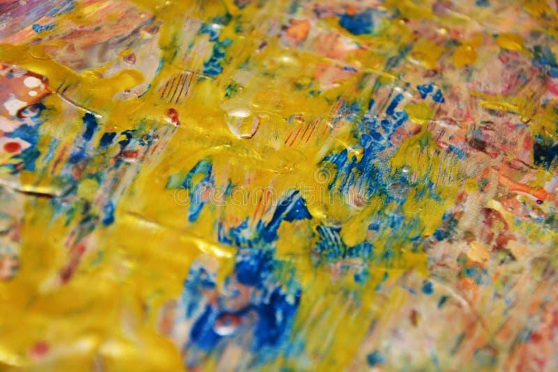 Fond unique bleu d'or, fond abstrait cireux, fond vif d'aquarelle, texture image libre de droits