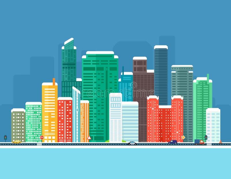 Fond urbain d'hiver avec la ville, la rivière congelée et la route illustration libre de droits