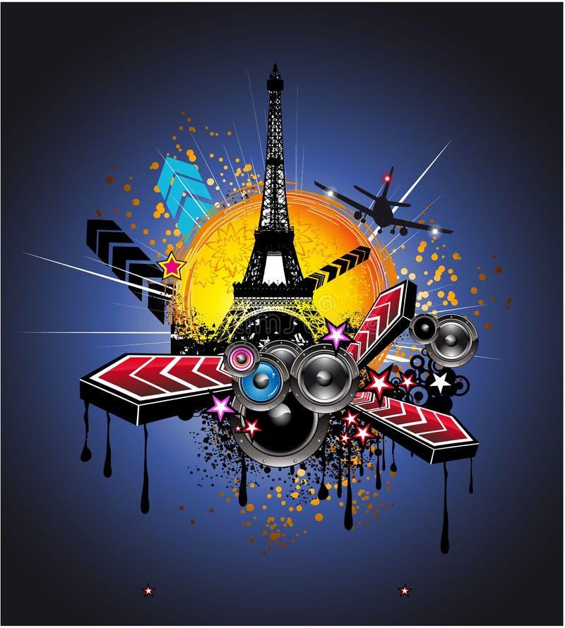Fond urbain de disco de Paris de type illustration stock
