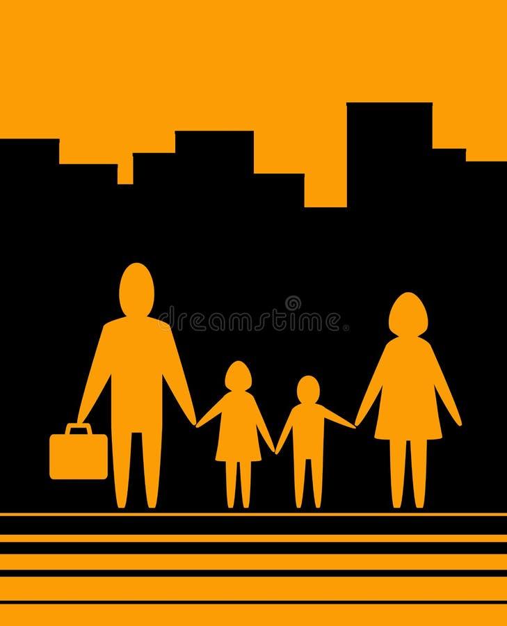 Fond urbain jaune avec le famille illustration libre de droits