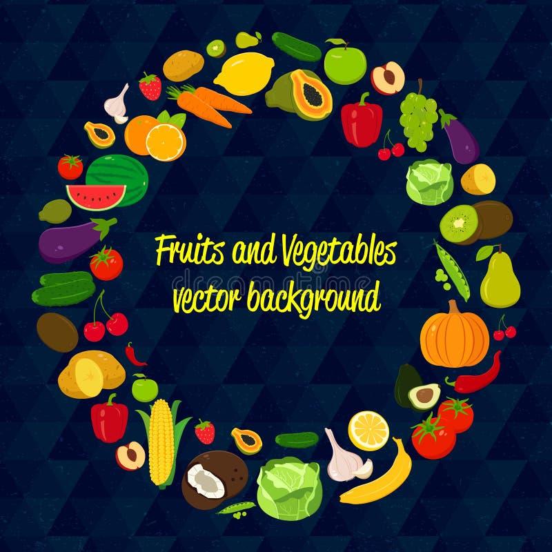 Fond végétal de cercle de vecteur Graphismes de fruits et légumes Conception plate moderne Fond sain de nourriture Vecteur illustration libre de droits