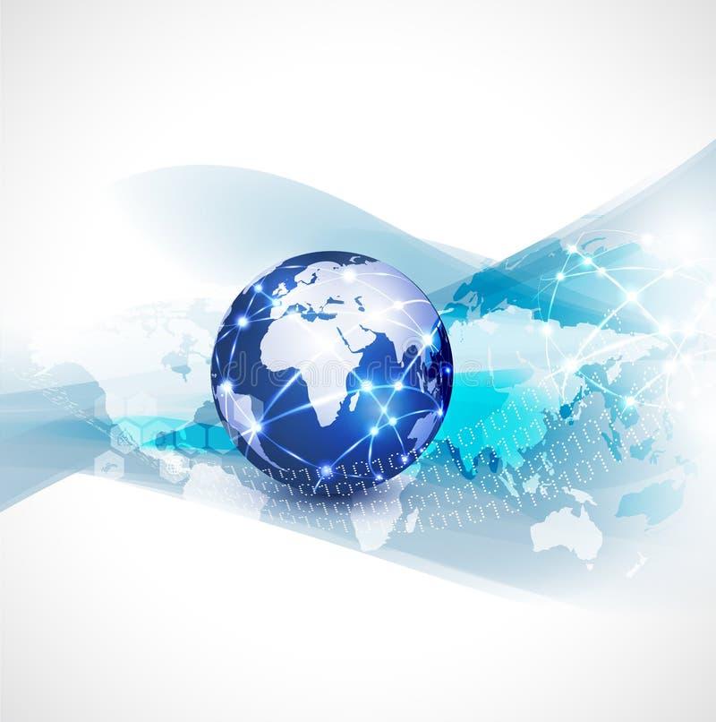 Fond, vecteur et illustration d'écoulement de communication de réseau du monde et de mouvement de concept de technologie illustration stock