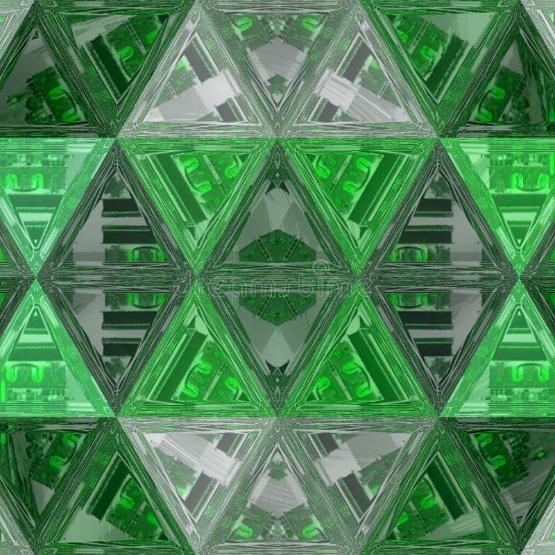 Fond vert abstrait avec des triangles de soulagement et l'effet en verre souillé illustration libre de droits