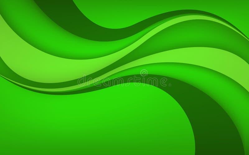 Fond vert abstrait avec la vague Illustration de vecteur illustration libre de droits