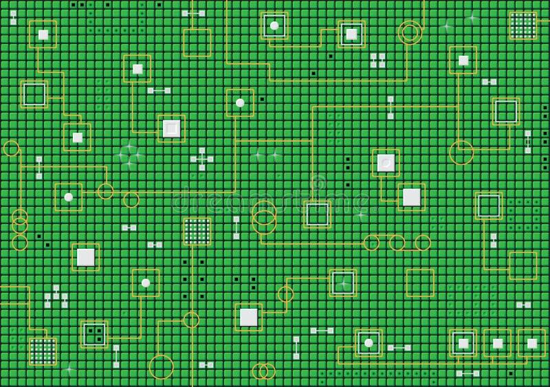 Fond vert abstrait de pointe électronique illustration stock