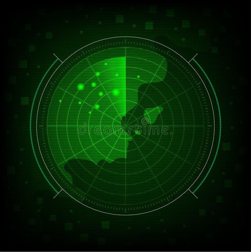 fond vert abstrait de radar illustration de vecteur