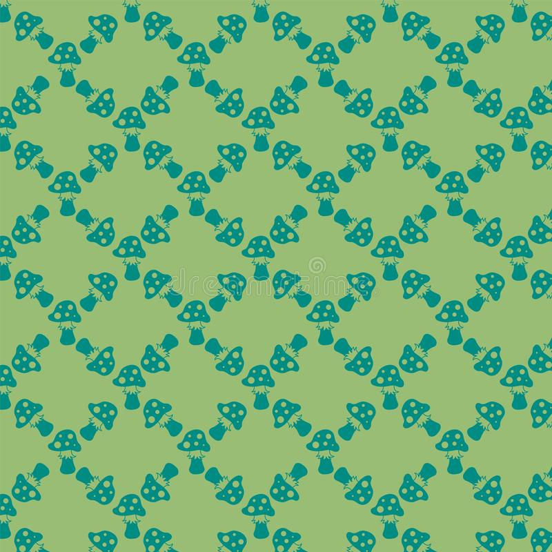 Fond vert avec des agarics de mouche pour votre conception Peut être employé pour le papier d'emballage ou un paquet illustration de vecteur