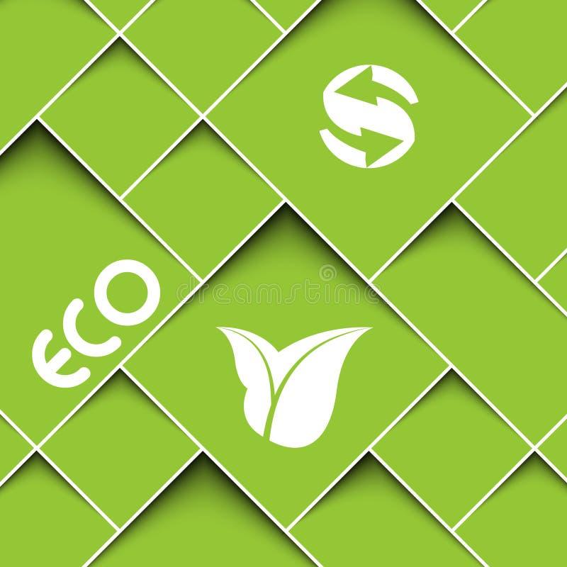 Fond vert avec des signes d'écologie illustration libre de droits