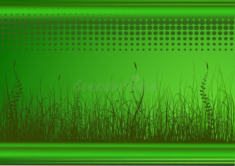 Fond vert avec l'herbe illustration de vecteur