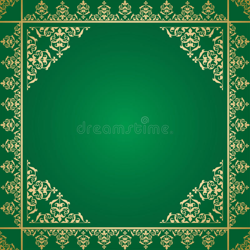 Fond vert avec l'ornement d'or de vintage illustration de vecteur