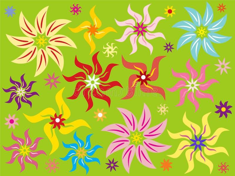 Fond vert avec la fleur illustration de vecteur