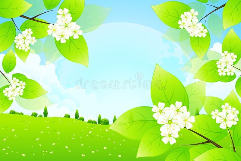 Fond vert avec la lune dans le ciel illustration de vecteur