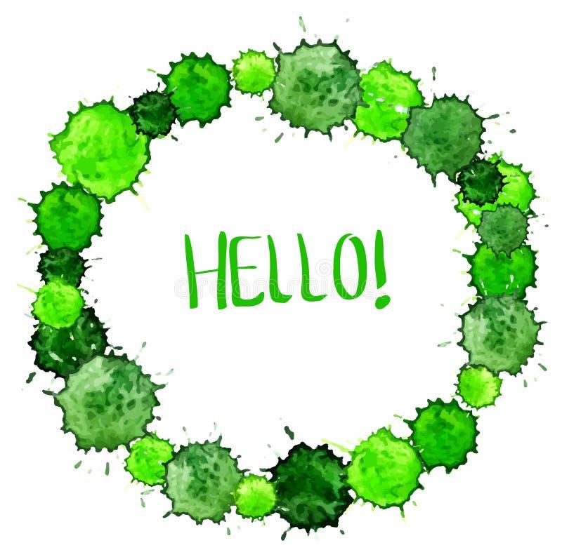 Fond vert coloré de tache d'aquarelle pour la belle conception illustration stock
