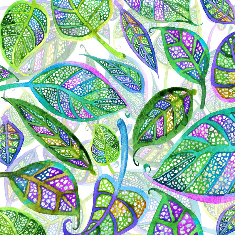 Fond vert d'aquarelle de feuilles de thé illustration de vecteur