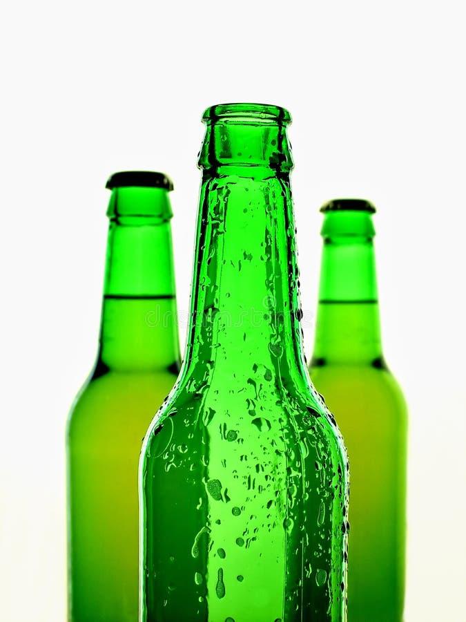 Fond vert d'isolement de bouteille à bière photo libre de droits
