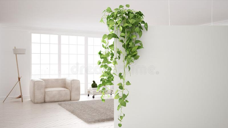 Fond vert de concept de construction intérieure avec l'espace de copie, mur blanc de premier plan avec l'usine mise en pot, salon illustration libre de droits