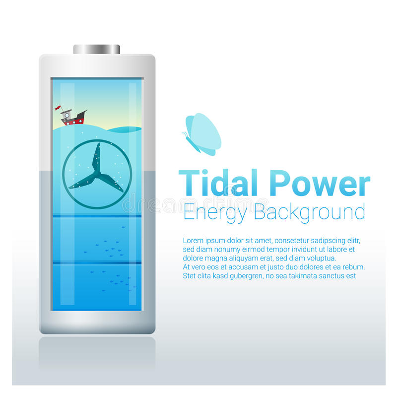 Fond vert de concept d'énergie avec la batterie de remplissage d'énergie marémotrice illustration stock