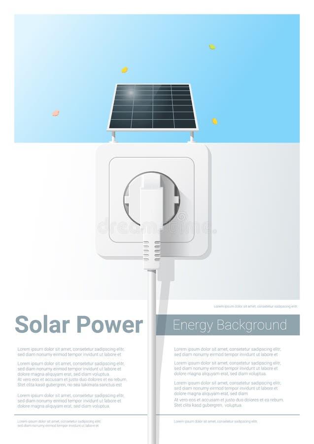 Fond vert de concept d'énergie avec le panneau solaire et la prise électrique illustration libre de droits