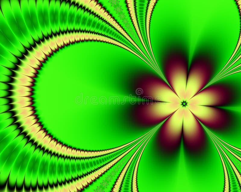 Fond vert de fractale de fleur illustration de vecteur
