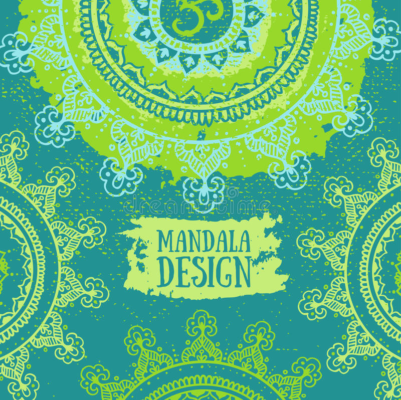 Fond vert de mandala Modèle rond d'ornement Affiche décorative de vintage illustration stock