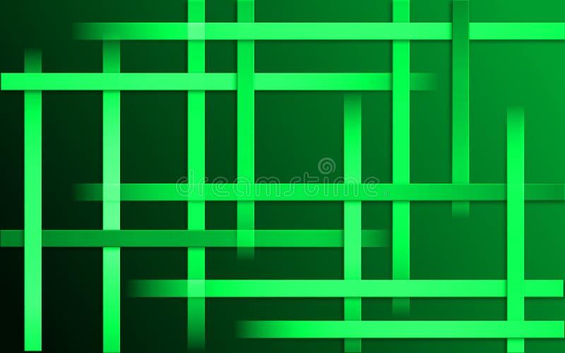 Fond vert de recouvrement de rayures - papier peint simple abstrait de mosaïque de modèle de barres illustration stock