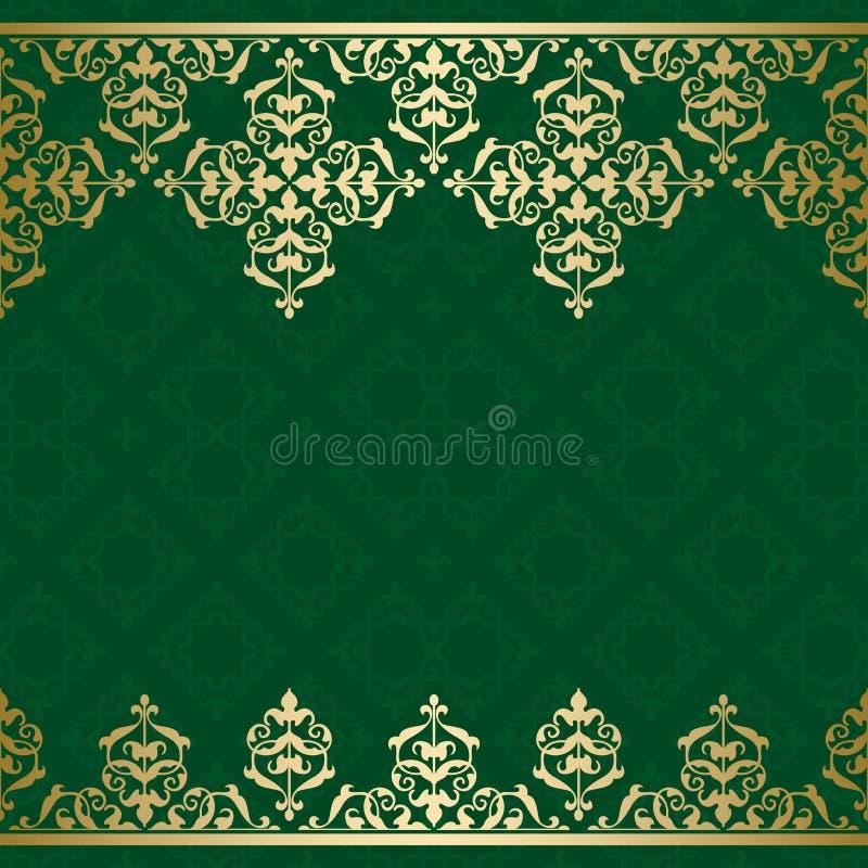 Fond vert de vecteur avec l'orname d'or de vintage illustration libre de droits