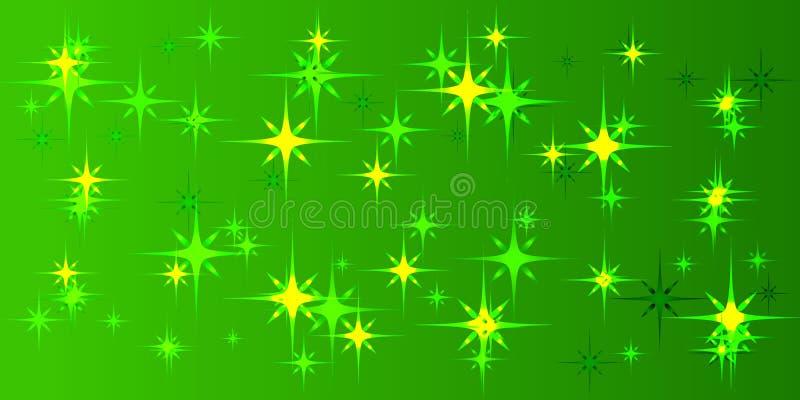 Fond vert de vecteur avec les étoiles vertes illustration libre de droits