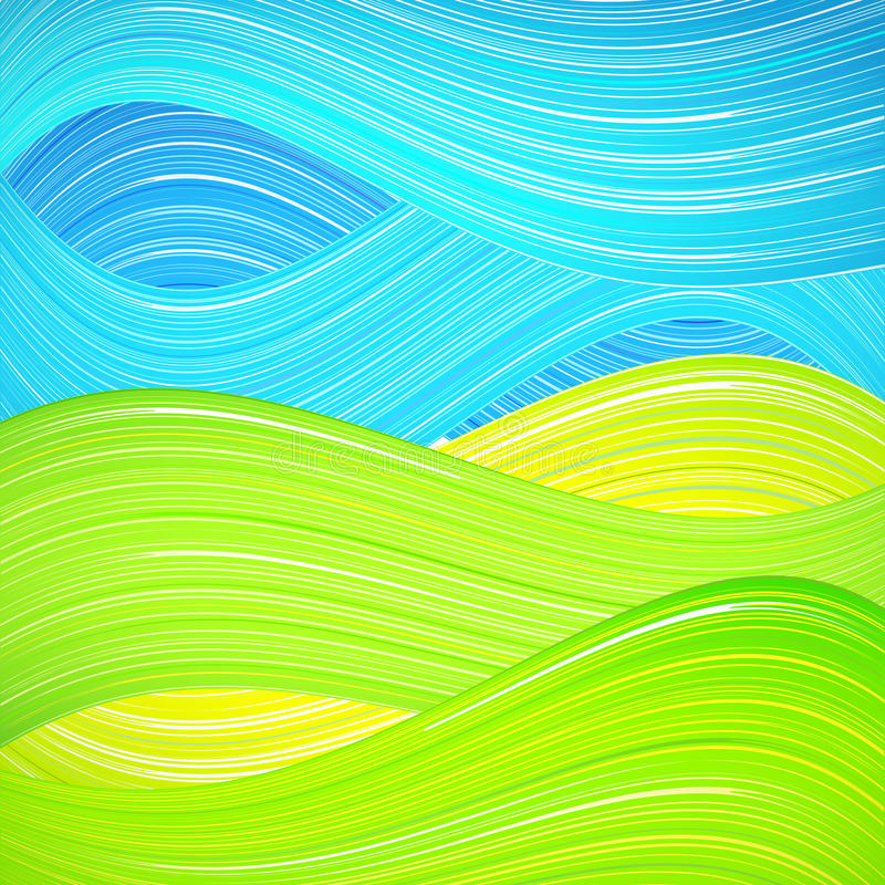 Fond vert et bleu de vague illustration de vecteur