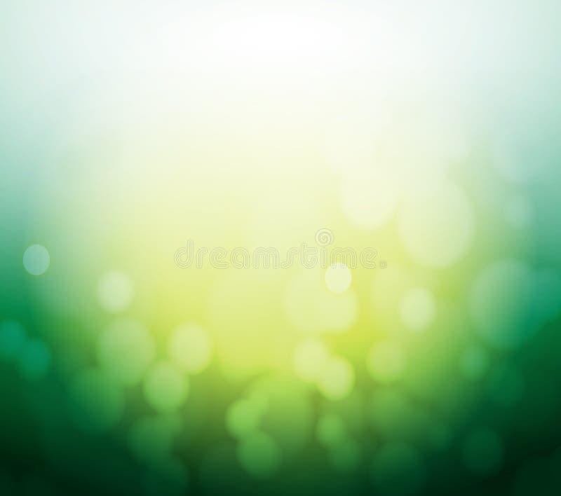 Fond vert et jaune de lumière d'abrégé sur bokeh. illustration stock