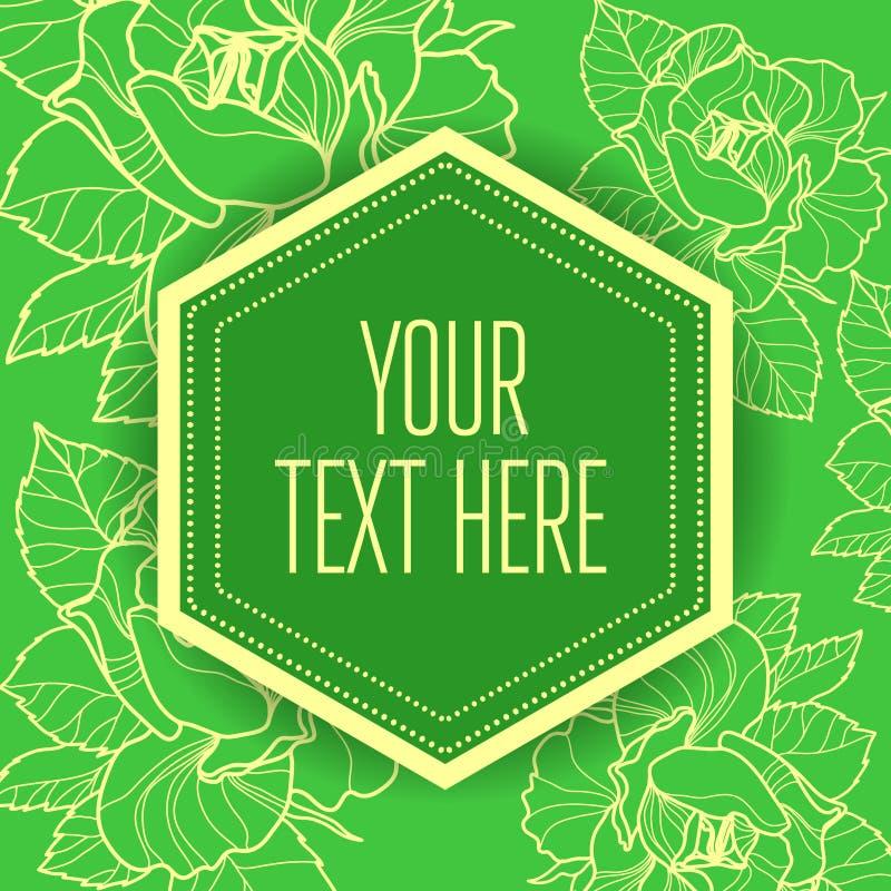 Fond vert floral de cru ?l?gant de vecteur illustration stock