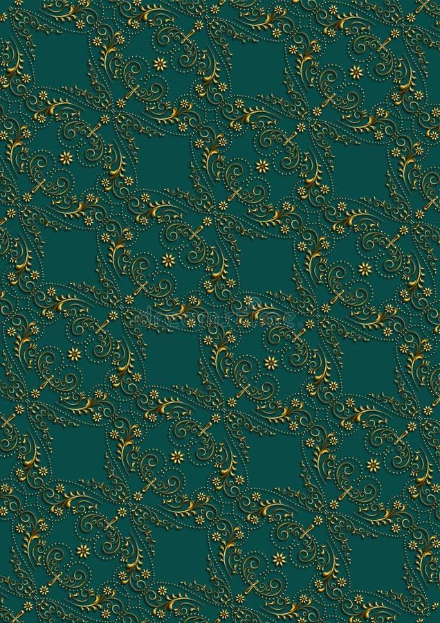 Fond vert-foncé avec le modèle floral d'or avec la croix illustration libre de droits