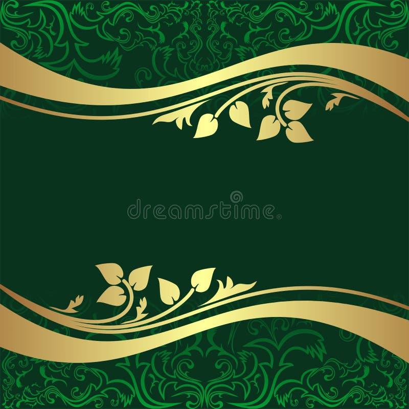 Fond vert fusil de luxe avec B floral d'or illustration de vecteur