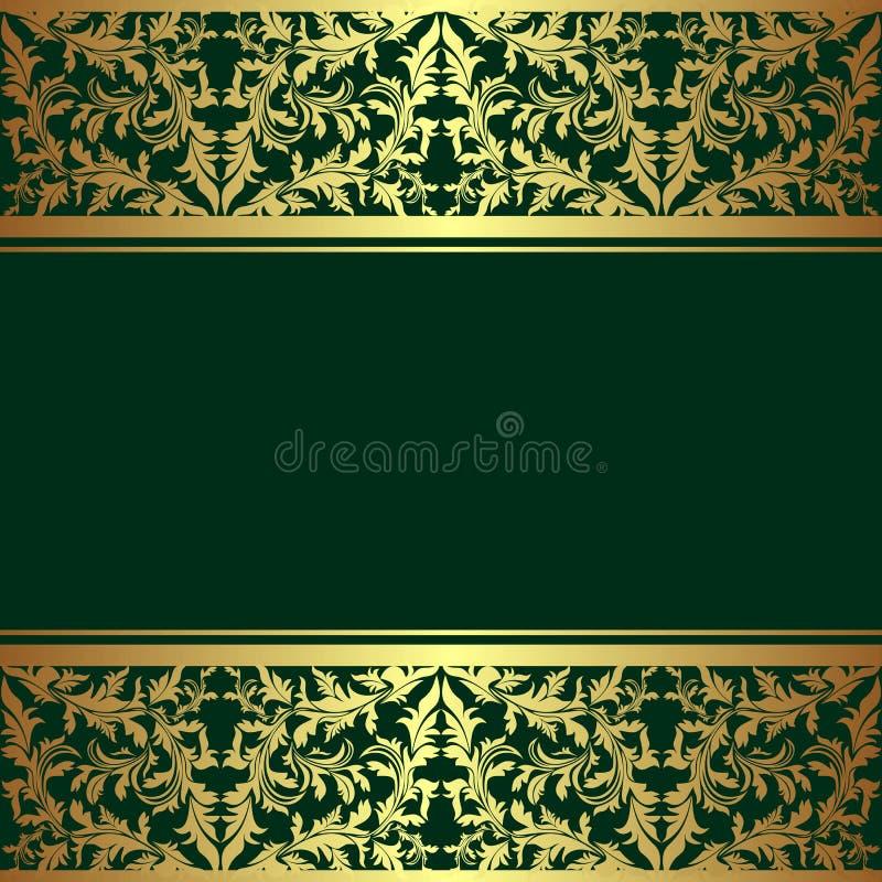 Fond vert fusil de luxe avec les frontières d'or. illustration libre de droits