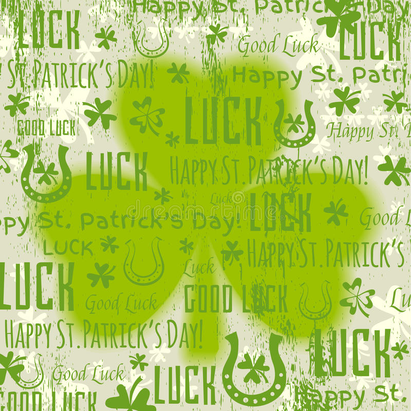 Fond vert grunge pour le jour de Patricks avec l'oxalide petite oseille, vecteur illustration stock
