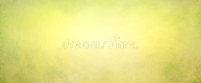 Fond vert jaune de résumé avec le centre lumineux mou rougeoyant avec les couleurs légères beiges et d'or et la frontière vert-fo photo stock