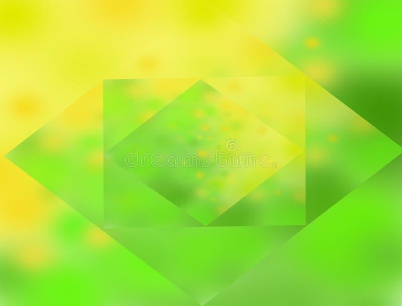 Fond vert jaune de ressort avec des places au centre illustration de vecteur