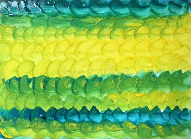 Fond vert-jaune texturisé d'abrégé sur aquarelle avec des traçages ronds illustration stock
