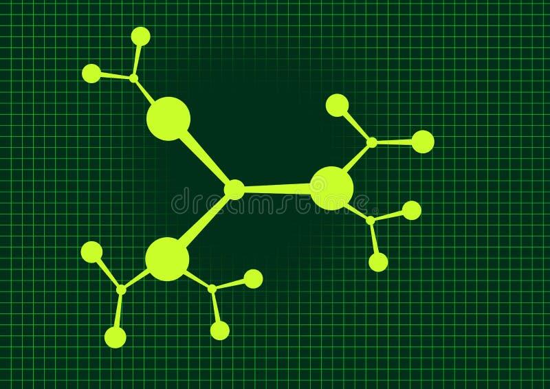 Fond vert moléculaire illustration de vecteur