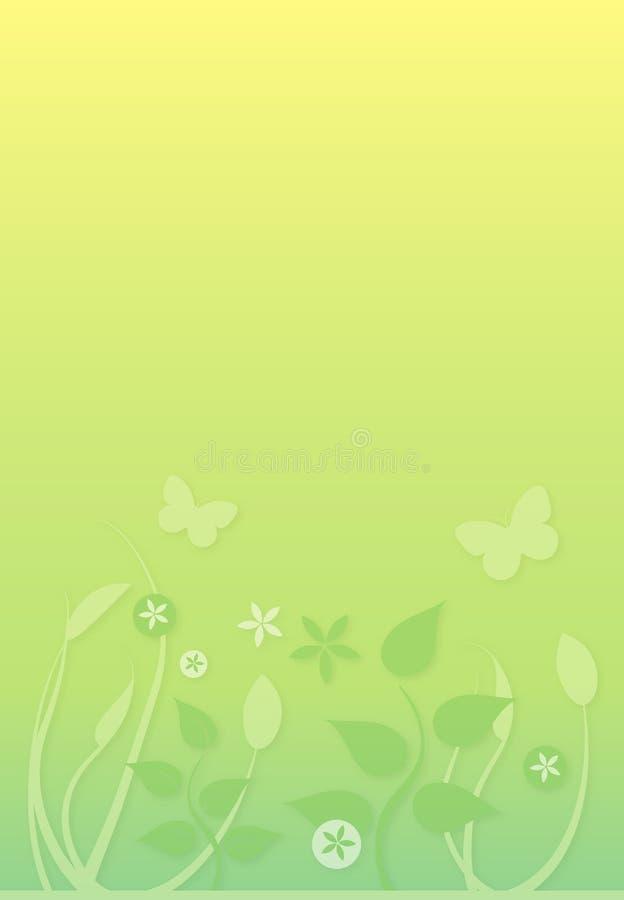 Fond vert mou avec le feuillage et les guindineaux illustration stock
