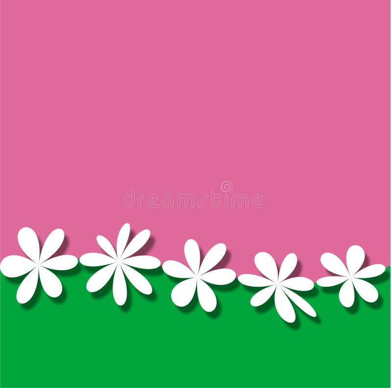 Fond vert rose de papier peint de vue de fleur blanche illustration stock