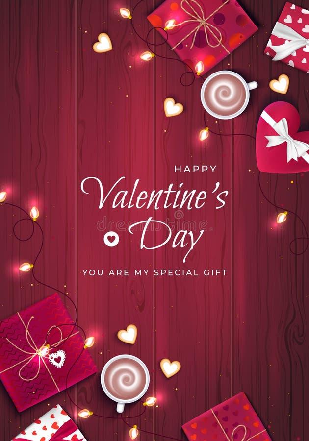 Fond vertical de salutation de Saint-Valentin heureuse Vue supérieure sur des boîte-cadeau dans l'emballage différent, confettis, illustration de vecteur