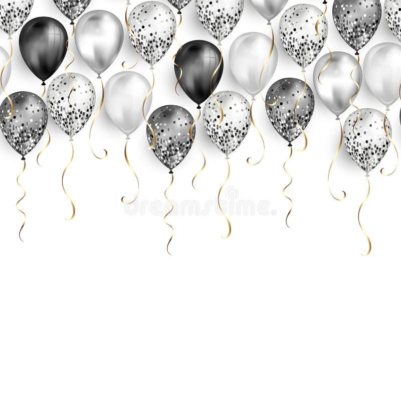 Fond vide blanc avec les ballons noirs et blancs en tant que frontière supérieure Réaliste brillant brillant illustration stock