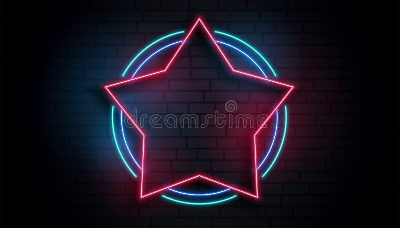 Fond vide de cadre d'étoile au néon illustration libre de droits